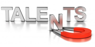 53292900 - talent acquisition illustration concept, letter n attracted and retained by a magnet over white background